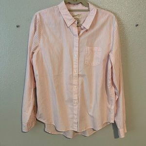 Universal thread pink strip button down